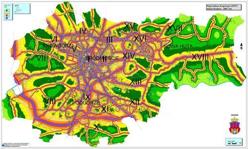 Kraków :: Mapa hałasu :: (1500x905 pikseli)