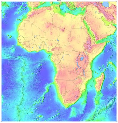 Topology Map of Africa from USGov-USGS ( 2775×2890 pikseli)
