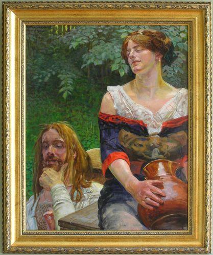 Jacek Malczewski :: Christ and the Samaritian Woman :: (1775x2126 pikseli)