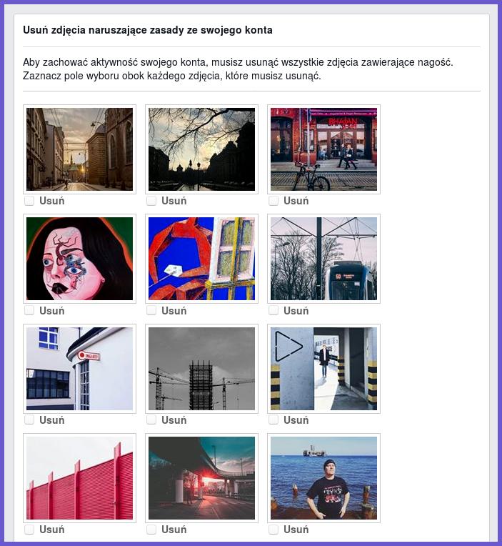 Musisz usunąć wszystkie zdjęcia zawierające nagość obraz ekranu_2018-04-14