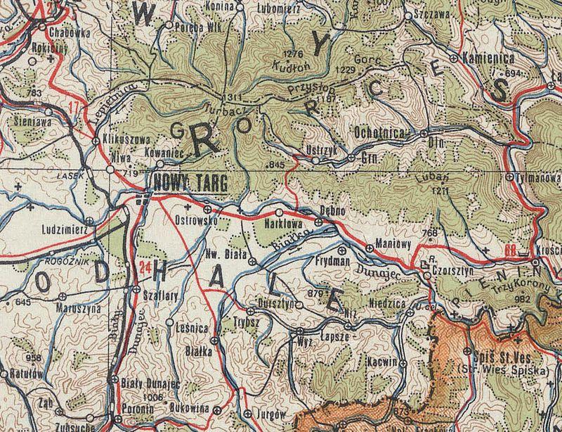 Nowy Targ Niedzica mapa WIG 1945